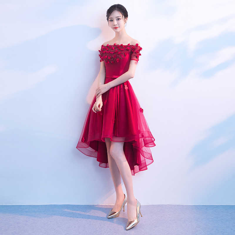db5277369c21 ... Red High Low Prom Dresses Sexy Boat Neck Off The Shoulder Flower Tulle  Short Prom Dresses ...