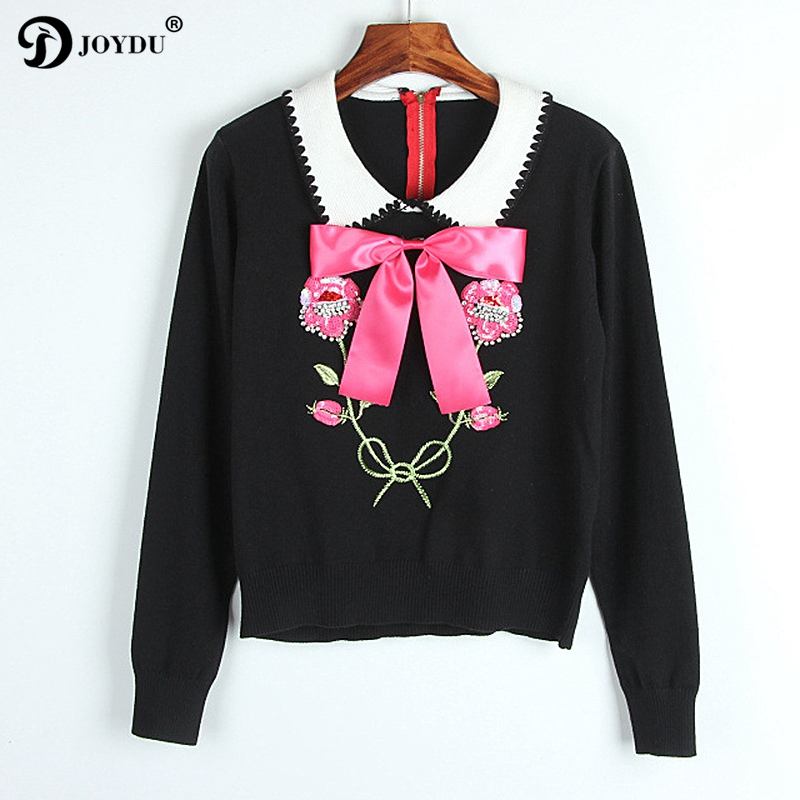 Runway Sweater For Women 2017 New Winter Designer Pullover Bow Peter Pan Collar Kawaii Flower Sequins Embroidery Knitted Jumper