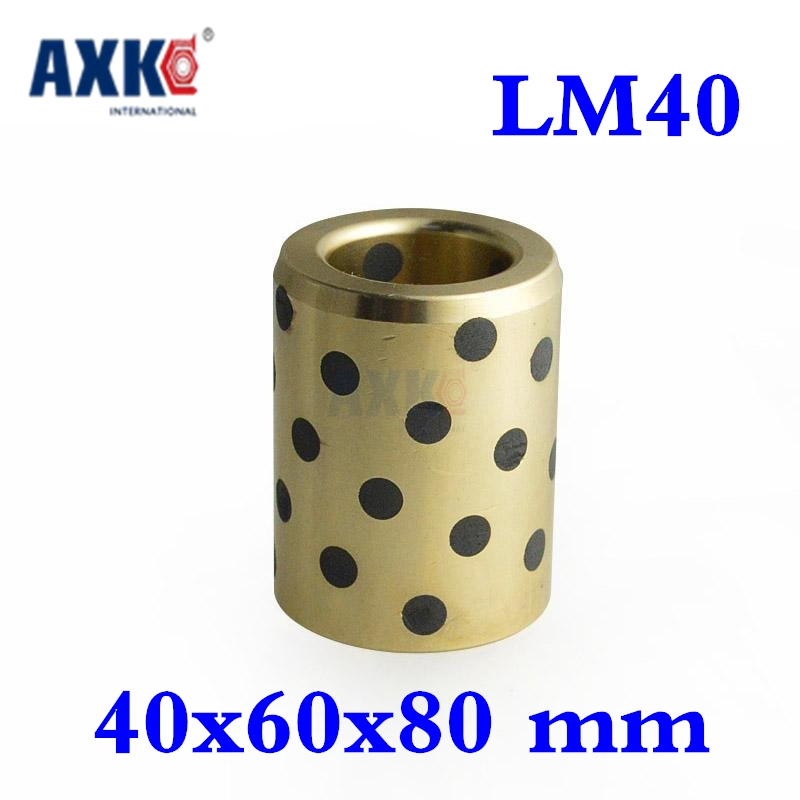2018 Hot Sale Special Offer Brass 40x60x80 Mm Linear Graphite Copper Set Bearing Bushing Oil Self-lubricating Jdb Lm40uu Lm40 lm40uu solid inlay graphite self lubricating linear bearings bushings without oil graphite copper sleeve 40 60 80