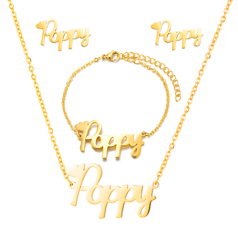Customized Stainless Steel Name Earrings Necklaces Bracelets Personalized Letter Gold Nameplate Gift Jewelry SetsCustomized Stainless Steel Name Earrings Necklaces Bracelets Personalized Letter Gold Nameplate Gift Jewelry Sets