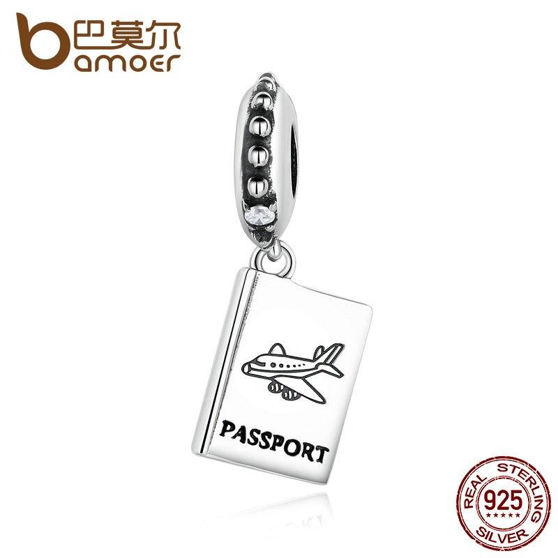 Prix pour Bamoer 925 sterling argent passeport avion charm fit bracelet voyage perles & bijoux faisant pas085