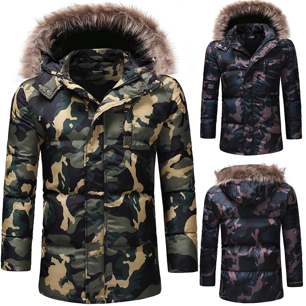 3af96c1f200 Внешняя торговля Мужская мода утолщение вниз хлопок камуфляж случайные  хлопок пальто мужчины длинный пуховик пальто зимняя