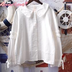 2018 осень Для женщин блузка японский Стиль Мори девушка симпатичная кукла воротник лук шнуровкой оборками Фонари рукавом хлопок белая
