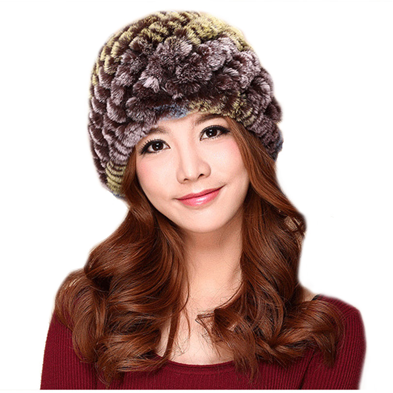 CUHAKCI Skullies Winter Rabbit Fur Hat Women Warm Beanie 16 Colors Hat Handmade Knitted Caps Lady Casual Pineapple Fur Cap New skullies