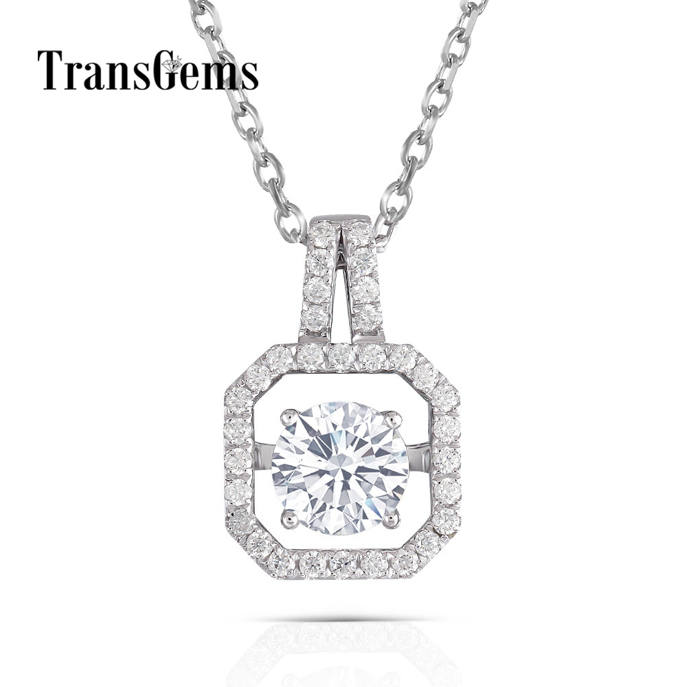 Transgems Solid 14K 585 White Gold Pendant Necklace Moissanite Center 1ct 6.5mm F color Floating Pendant for Women Jewelry Gift moissanite pendant 18k 750 white gold lab grown moissanite diamond pendant drop bezel necklace chain for women jewelry