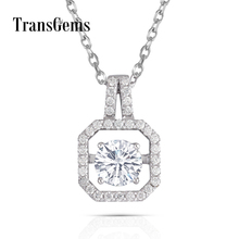 Transgems Solid 14K 585 White Gold Pendant Necklace Moissanite Center 1ct 6.5mm F color Floating for Women Jewelry Gift