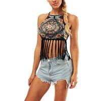 6bb52b98590e6 SOSHIRL Vintage Tribe Crop Tops Sexy Tassel Tank Top Chic Summer Women  Beachwear Floral Vest Bandage