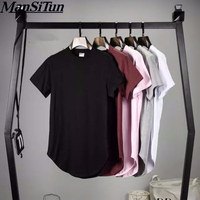2017 Summer Mens Fashion Extended Shirt Arc Cut Hi Street Hip Hop T Shirt 100 Cotton