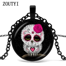 2018/Sugar Skull Pendant Necklace Death Jewelry Day Owl Star Picture Sweater Necklace Glass Bulky Time Animal Jewelry