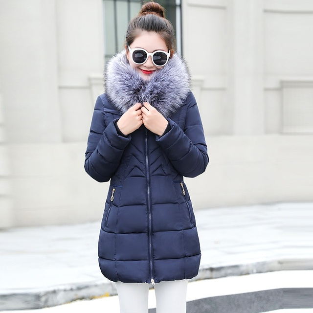 womens winter jackets and coats 2018 Parkas for women 4 Colors Wadded Jackets warm Outwear With a Hood Large Faux Fur Collar  2