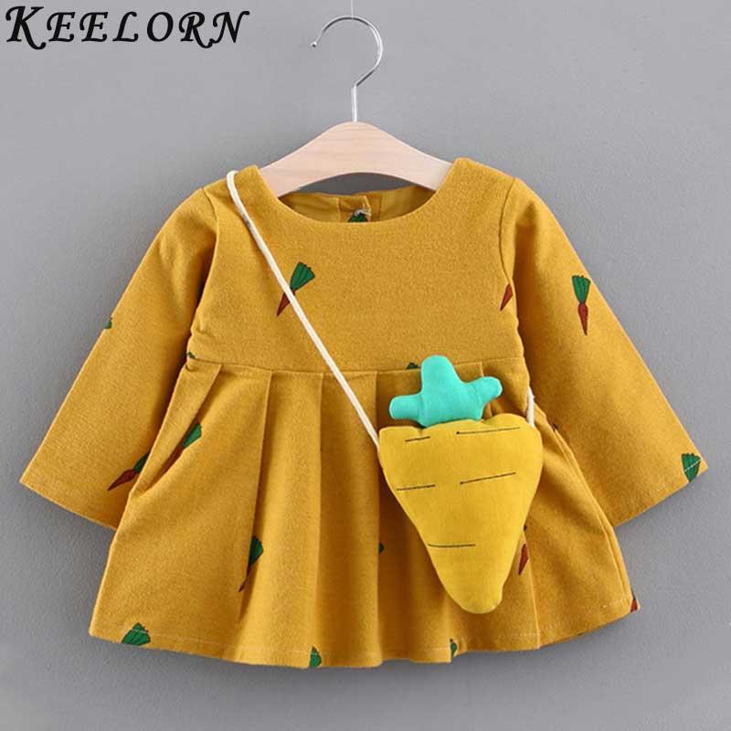 Keelorn Baby Girl Dress 2018 Autumn Winter girls clothes Carrot decoration Priness Dress Newborns Birthday Dresses