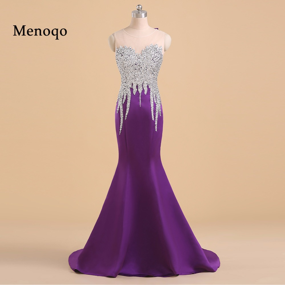 Menoqo Lungo Elegante Della Sirena Viola Prom Dresses Lunghezza Del Pavimento Paillettes Che Borda Sexy di Promenade Convenzionale Del Partito