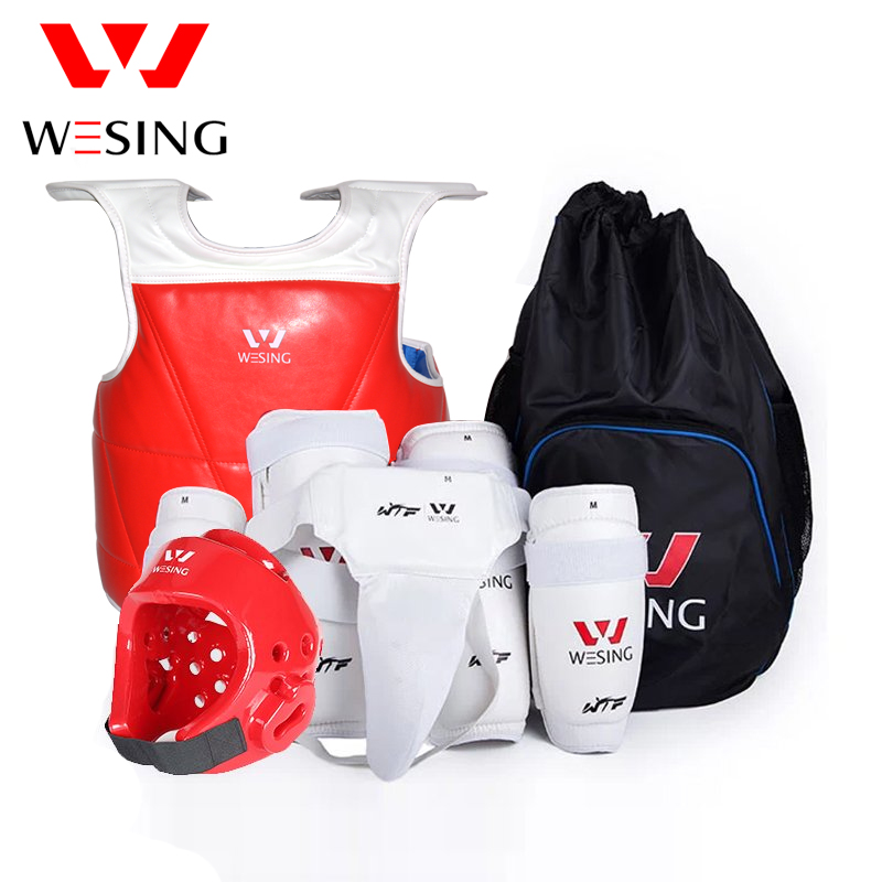 Wesing Professional Taekwondo Protective Gears for Training with Head Guard Chest Protector Shin Guard Arm Groin Guard for Sport target kick pad for taekwondo training black red