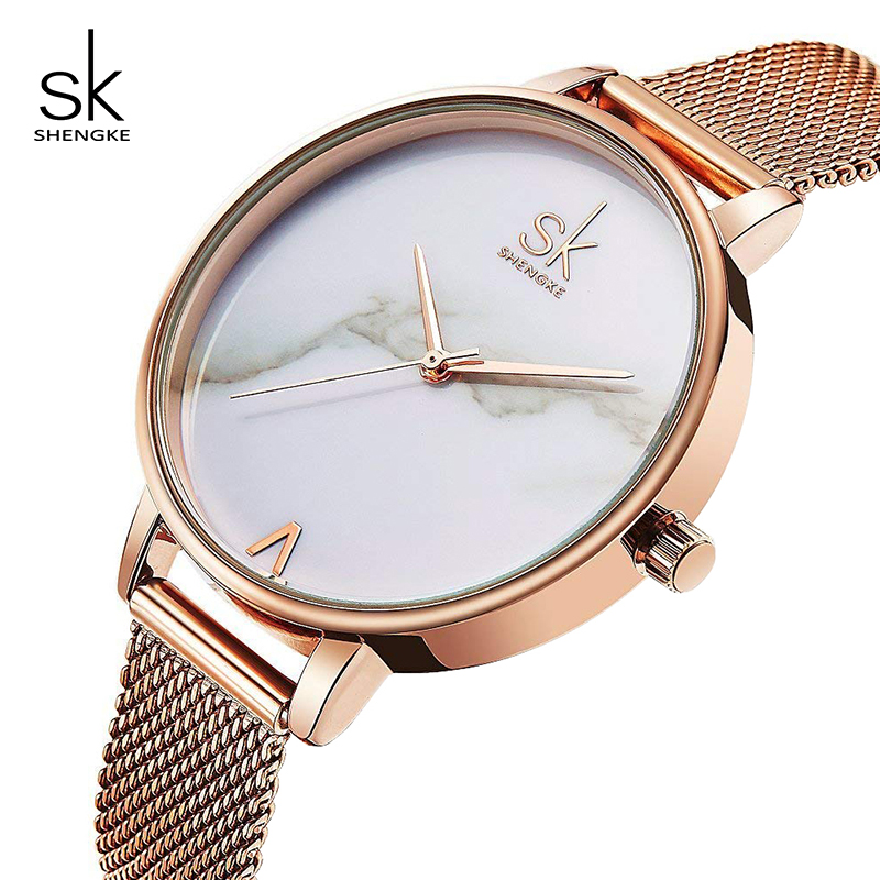 Shengke Creative Marble Dial Watches Women Luxury Stainless Steel Quartz
