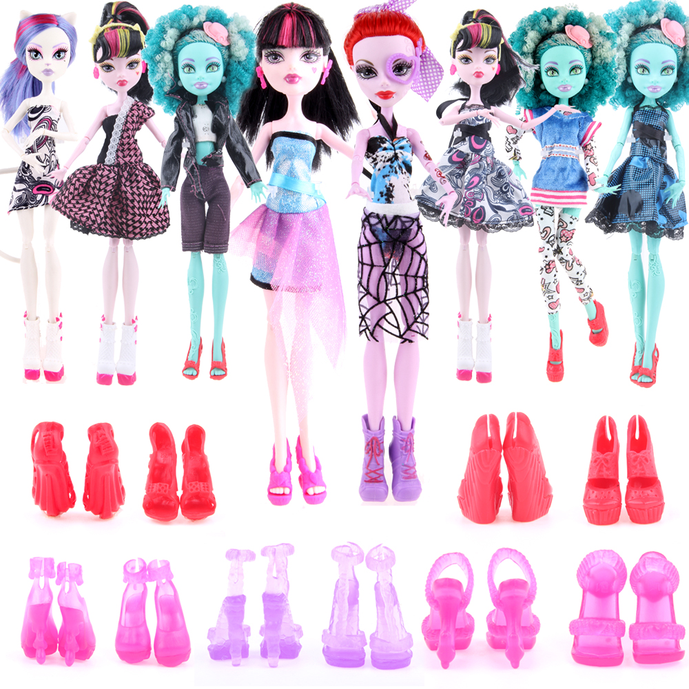 все цены на Cheapest! 10 items 5 Suit Clothes + 5 Pair Shoes Monster Doll High Accessories Fashion Clothes for Original Monster Hight Dolls онлайн