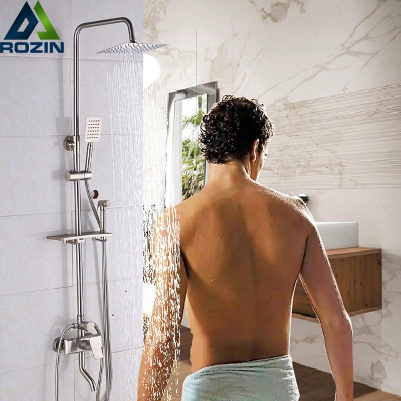 Nickel Brushed Shower Mixer Faucet 8 Rain Showerhead Wall Mount Sprayer Flusher Head Swivel Bath Spout Handshower 4-Functions