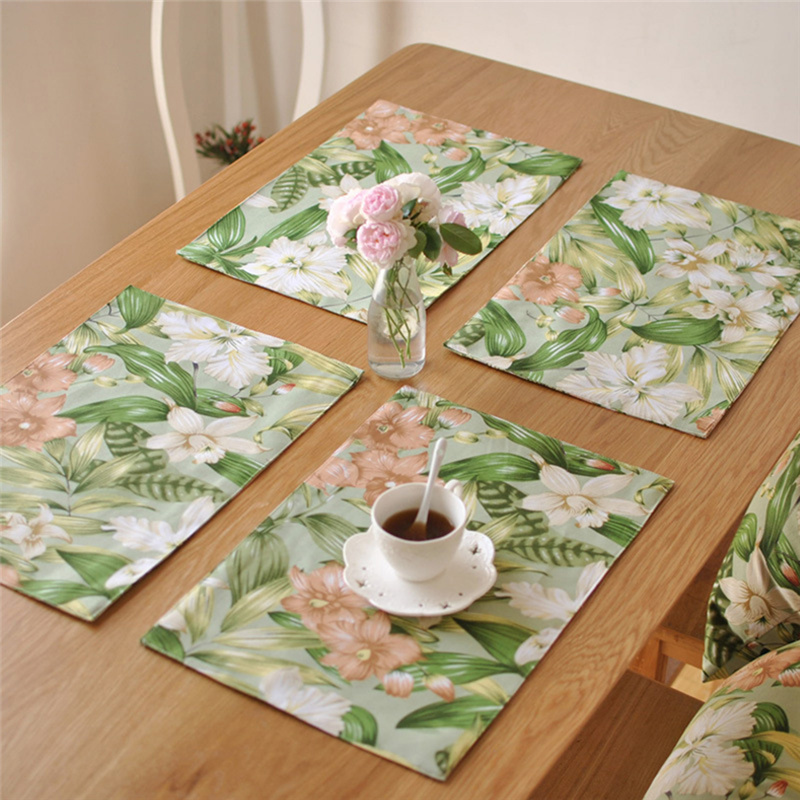 40x30cm Pastoral Style Distinctive Cotton Linen Cloth Placemat Insulation Dining Table Mat Bowls Coasters Kitchen Accessories