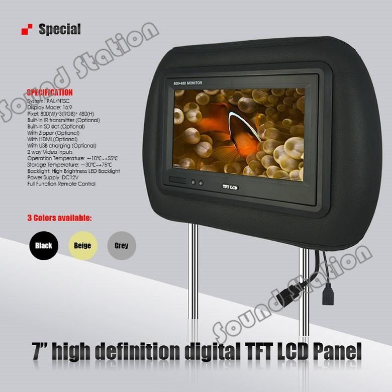 US $279 0 |2 X 7 Inch Car Headrest TFT LCD Monitor Screen Auto Automotivo  Audio Video Multimedia Multimidia Display ( Black Beige Gray )-in Car