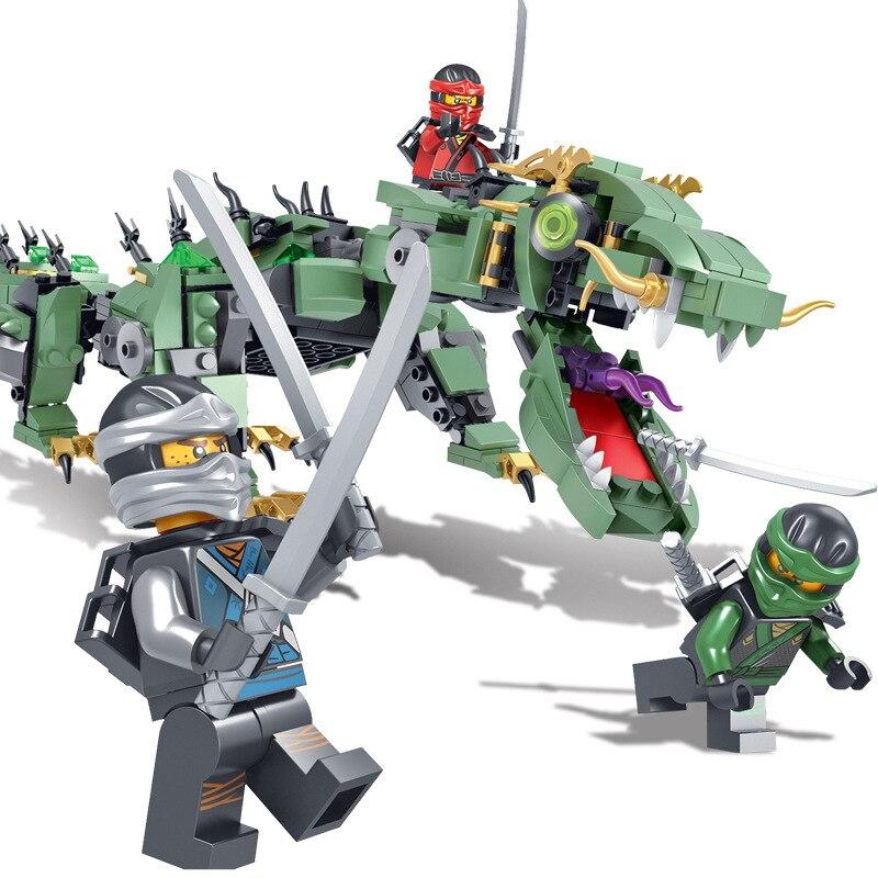 574Pcs Ninjago Set Green Ninja Mech Dragon Lloyd Wu Garmadon Charlie Dinosaur Compatible with Legoings Toys for Birthday Gifts game of thrones house sigils