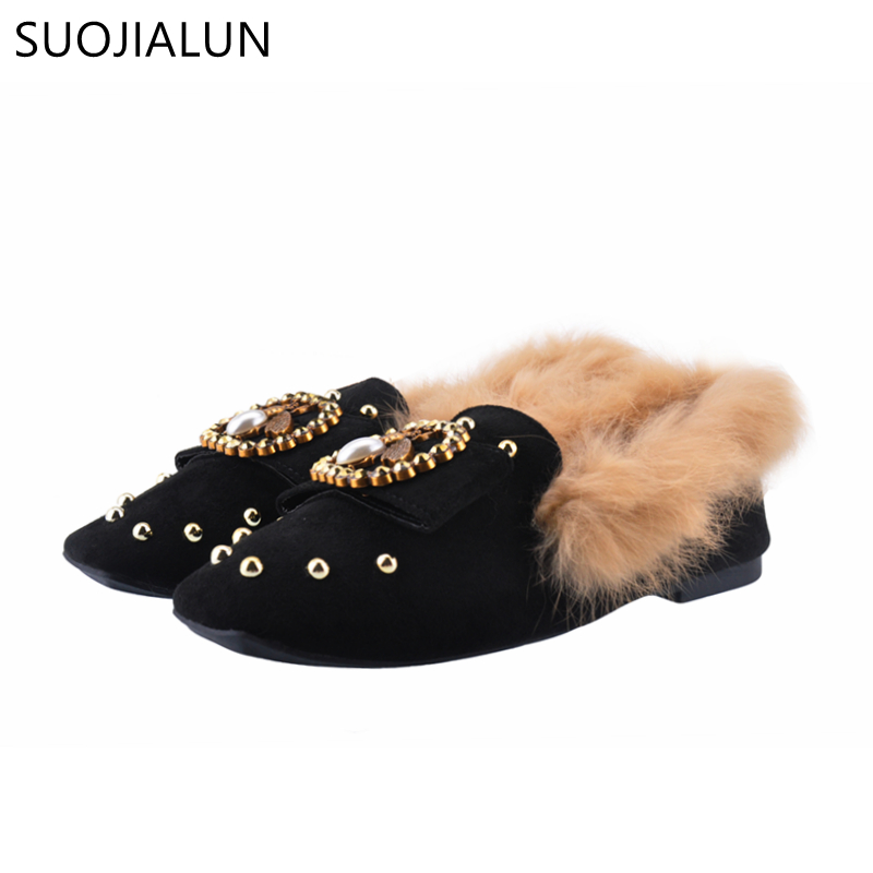 SUOJIALUN Women Shoes Flats Round Toe Warm Plush Slip on Loafers Flat Heels Shoes Zapatillas Mujer Casual Ladies Shoes 2017 shoes women med heels tassel slip on women pumps solid round toe high quality loafers preppy style lady casual shoes 17
