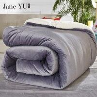 JaneYU 2019 CamoFleece quilt comforter winter doona edredon thick blanket duvet colcha comoforter lambwool bedspread