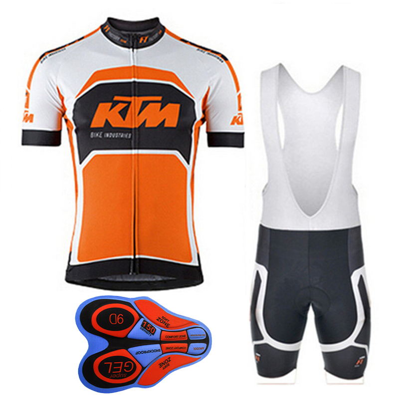 2017 KTM Mens Cycling Jersey Summer Mtb Bike Clothing Bicycle Short Sleeves 9D Bib Shorts Suit Maillot Ciclismo Sportswear F1705  breathable cycling jersey summer mtb ciclismo clothing bicycle short maillot sportwear spring bike bisiklet clothes ciclismo