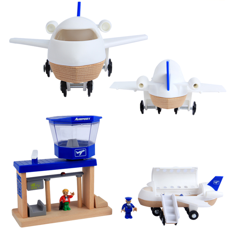 Baby Wood Toys Assembling Bocks Airport Port Airplanes and Captain Passenger Vehicle Disassemble Toy for Boys Baby Birthday Gift-in Model Building Kits from Toys & Hobbies    1