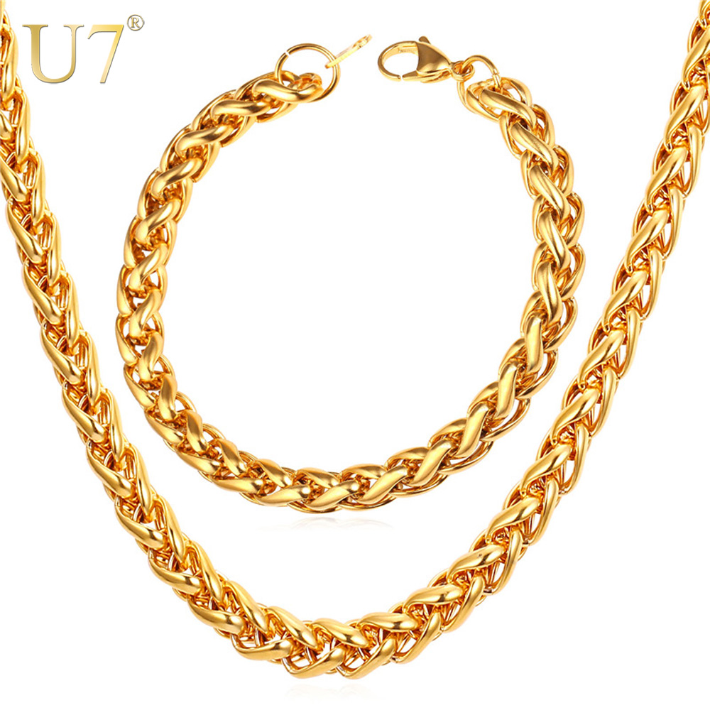 U7 New Wheat Spiga Chain Necklace Set Men Stainless Jewelry Wholesale 9MM Width Gold Color Necklace Bracelet Jewelry Sets S836 thick gold chain set wholesale men s jewelry white black crystal buckle necklace bracelet stainless steel jewelry sets