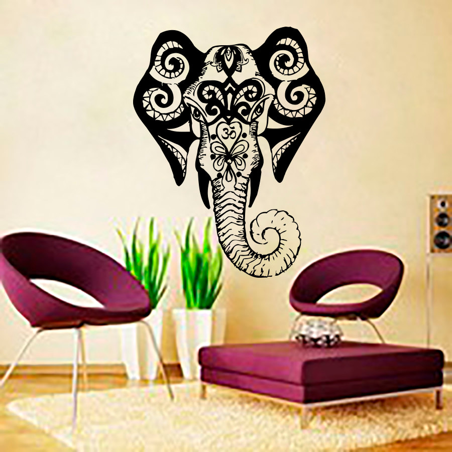 dctop living room wall art sticker indina elephant wall decals vinyl removable home decor interior design - Interior Design Wall Decor