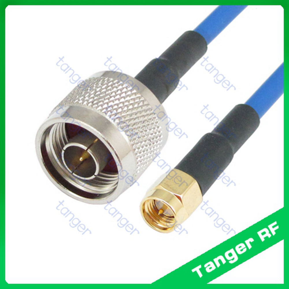 Tanger N male to SMA male plug straight with RG402 RG141 RG-402 Blue Coaxial Jumper Semi Flex Cable 20in 50cm RF Low Loss Coax hot mmcx male plug to n female jack 4four hole panel straight with 20cm 8inch rg316 rf coaxial pigtail jumper low loss cable