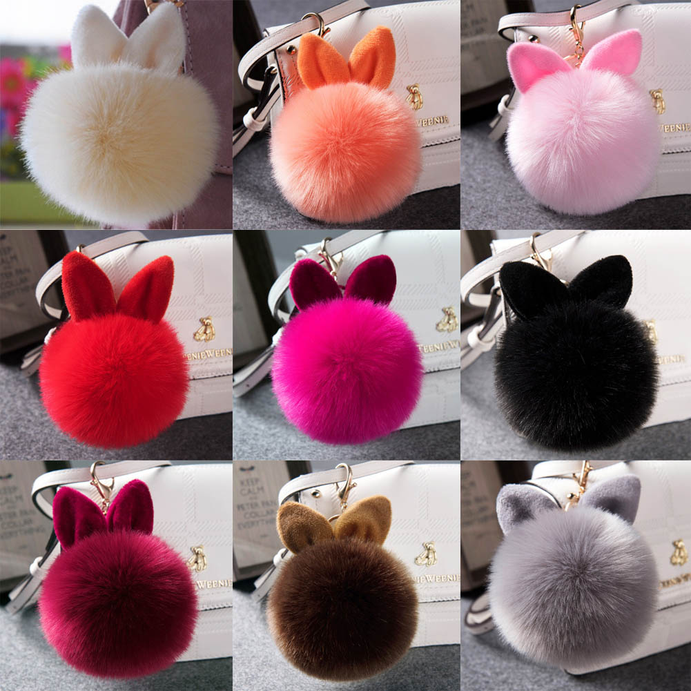 Cute Fluffy Rabbit Ear Fur Ball Key Chain Rings Pendant Lovely Pompom Artificial Rabbit Fur Keychain Women Car Bag Key Ring