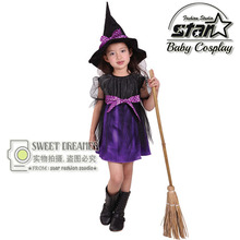 Hot Fancy Masquerade Party Cosplay Dress Witch Clothing Halloween Costume for Kids Girls with Wizard Hat