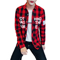 New 2016 Autumn Red Plaid Men Shirt Letter Print Cotton Long Sleeve Casual Shirts For Boys Plus 5XL Male Shirt Chemise Homme