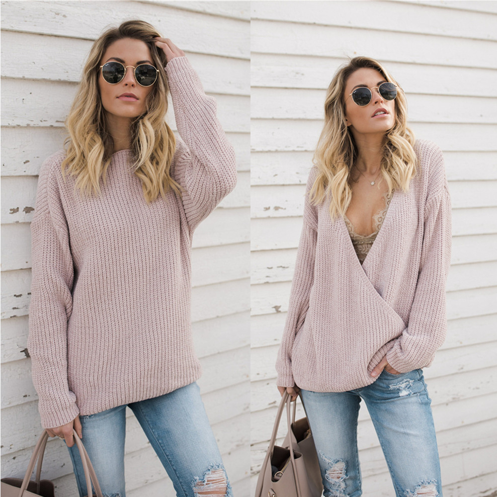 Fall Fashion 2019 New Reversible Sweater Women Sexy Twotwinstyle