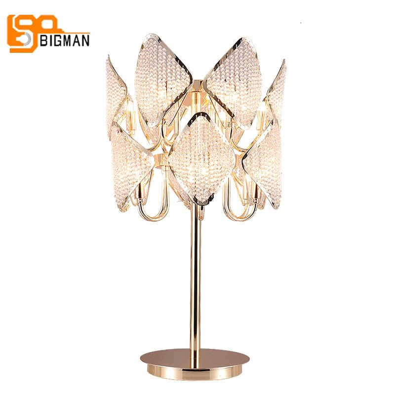 luxury design gold crystal table light modern table lamp AC110V 220v lustre home decor lighting