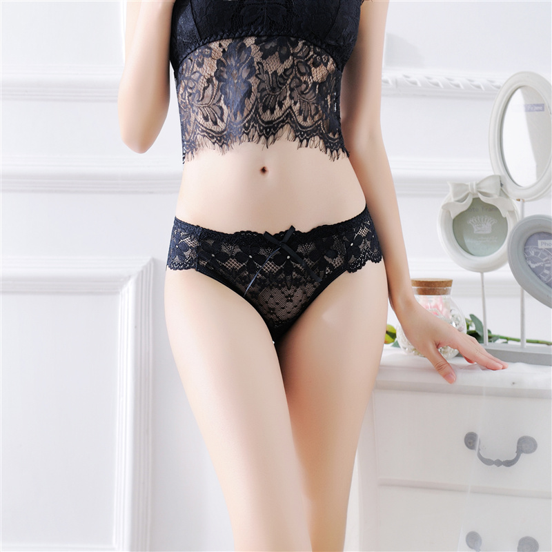 Lace Sexy Women Briefs Transparent Womens Panties Underwear Lingerie Female Breathable Seamless Panties Bow-knot Cute Underwear (18)