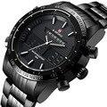 Relogio Masculino marca de luxo homens relógios dos homens de quartzo de Hour analógico Digital LED Sports Watch homens militar completa de aço relógio de pulso