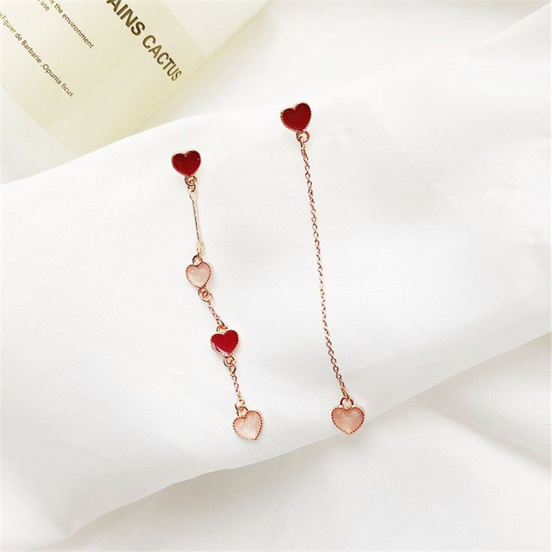 MENGJIQIAO 18 Korean New Fashion Sweet Heart Asymmetric Drop Earrings For Women Elegant Ear Line Temperament Orecchini Brincos 3
