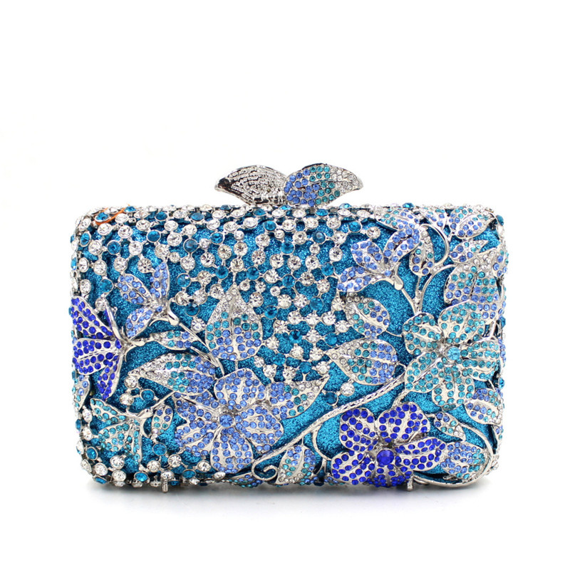 blue Crystal Rhinestones Women Evening Party Cocktail Bags Hollow Out Metal Bridal Clutch Wedding Purse Minaudiere Handbag