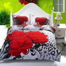 b569bbc050 3D Rosa Vermelha Jogo de Cama Originais Do Casamento Roupas de Cama Queen  Size conjunto de cama de Algodão Duvet Consolador Quil.