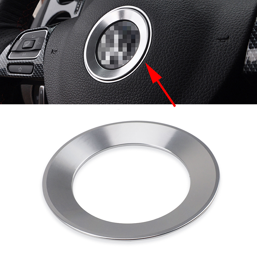 Car Steering Wheel <font><b>Logo</b></font> Insignia Metal Ring Frame <font><b>Sticker</b></font> Car Styling for <font><b>Volkswagen</b></font> VW Jetta <font><b>Passat</b></font> <font><b>B5</b></font> B6 B7 Beetle T4 Scirocco image