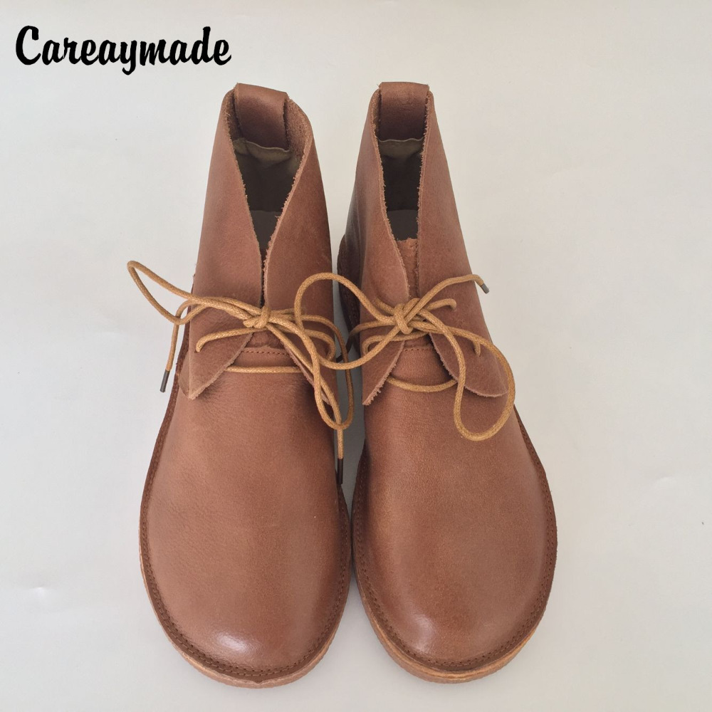 Careaymade New 2019 Genuine leather shoes Pure handmade ankle boots The retro art mori girl shoes Western style warm boots in Ankle Boots from Shoes