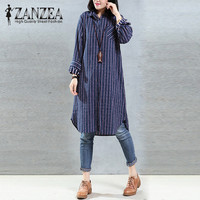 Plus Size ZANZEA Autumn Women Turn Down Collar Vintage Stripe Cotton Linen Long Blouse Loose Long