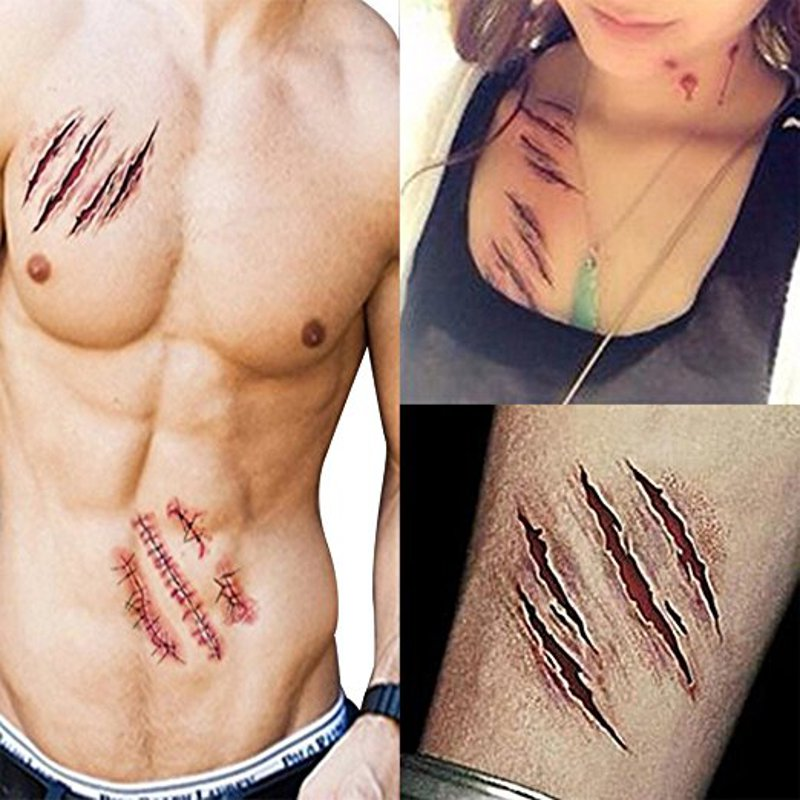 Luckyfine Halloween Zombie Scars Tattoos Fake Scab Bloody Makeup Terror Wound Scary Seems Sacry Sticker Cosmetic Make Up Tools