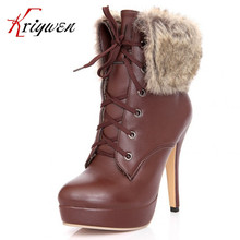 Big size 32-43 New 2015 fashion high quality fur ladies black Apricot brown lace-up ultra 11cm heels sexy women's dancing boots