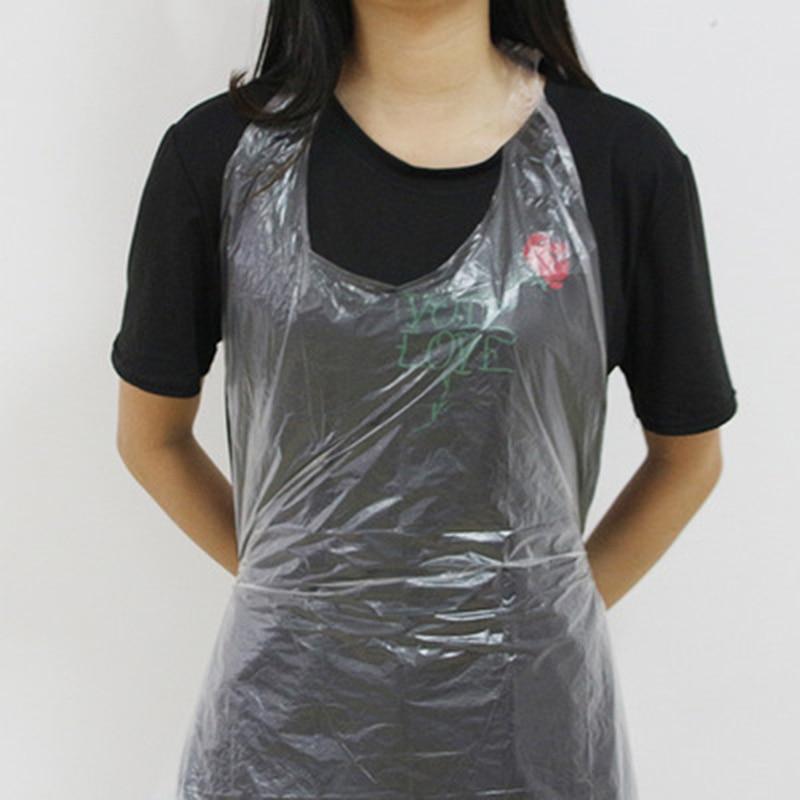 Apron 100PCs Disposable  Beauty Apron Transparent Poly Aprons  Body Art  Use Accessories Supply