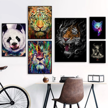 Panda Tiger Lion Ox Elephant Bird Cat Wall Art Canvas Painting Nordic Poster And Print Animal Picture For Living Room Decor