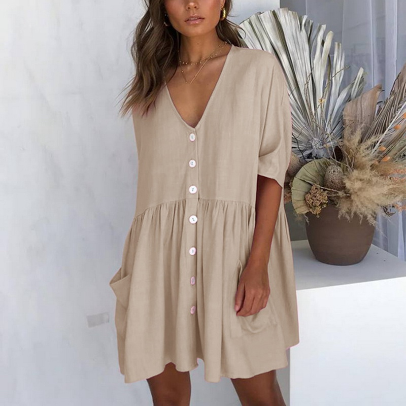 c78401ee1df8d Women's Summer Dress Botton Tunic Casual V neck Solid Color Party ...