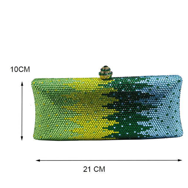 Luxury Green Flower Crystal Clutches and Evening Bags for Womens Party Bridal Wedding Evening Prom and Matching Shoes and Dress