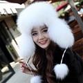 Genuine fox sombrero de piel de las mujeres fox fur skullies gorros sombreros calientes del invierno natural fox cap bombardero sombreros